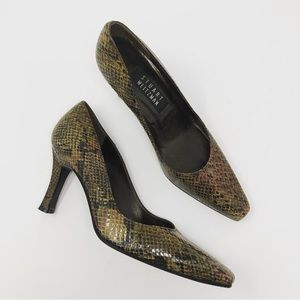 Stuart Weitzman snakeskin leather heels sz 6.5 B